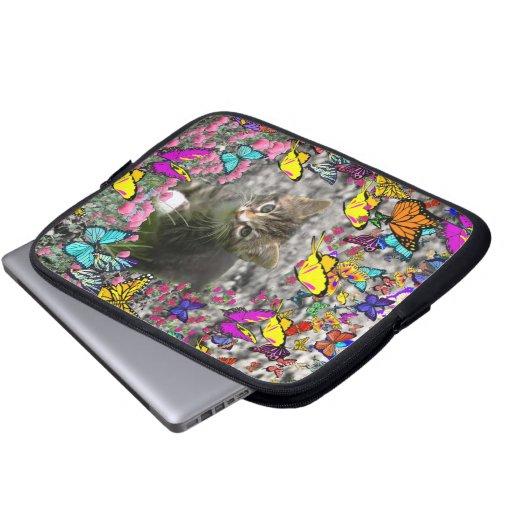 Emma in Butterflies I - Gray Tabby Kitten Laptop Computer Sleeve