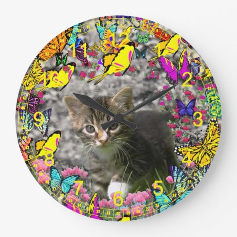 Emma in Butterflies I - Gray Tabby Kitten Large Clock