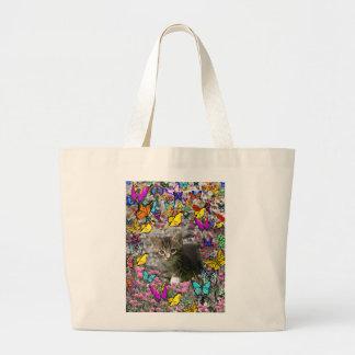 Emma in Butterflies I - Gray Tabby Kitten Large Tote Bag