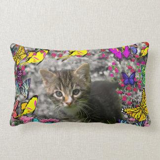 Emma in Butterflies I - Gray Tabby Kitten Lumbar Pillow