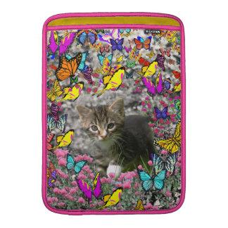 Emma in Butterflies I - Gray Tabby Kitten MacBook Sleeve