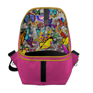 Emma in Butterflies I - Gray Tabby Kitten Messenger Bag