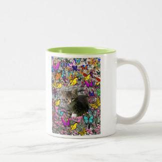 Emma in Butterflies I - Gray Tabby Kitten Two-Tone Coffee Mug