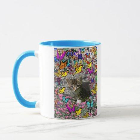 Emma in Butterflies I - Gray Tabby Kitten Mug