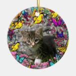 Emma in Butterflies I - Gray Tabby Kitten Christmas Tree Ornament