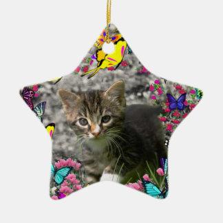 Emma in Butterflies I - Gray Tabby Kitten Ornament