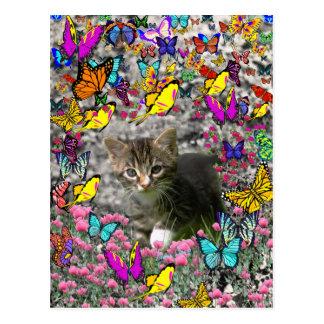 Emma in Butterflies I - Gray Tabby Kitten Postcard