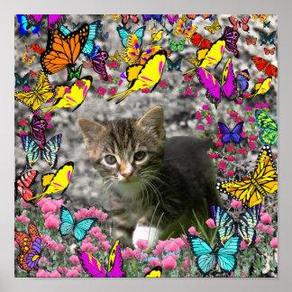 Emma in Butterflies I - Gray Tabby Kitten Poster