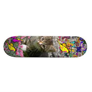 Emma in Butterflies I - Gray Tabby Kitten Skateboard