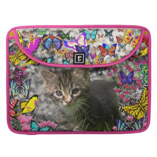 Emma in Butterflies I - Gray Tabby Kitten Sleeve For MacBook Pro