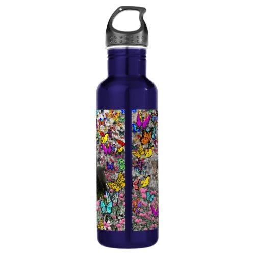 Emma in Butterflies I - Gray Tabby Kitten Stainless Steel Water Bottle