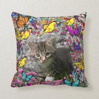 Emma in Butterflies I - Gray Tabby Kitten Throw Pillow