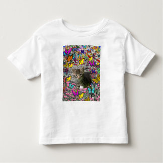 Emma in Butterflies I - Gray Tabby Kitten Toddler T-shirt