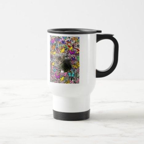 Emma in Butterflies I - Gray Tabby Kitten Travel Mug