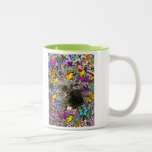 Emma in Butterflies I - Gray Tabby Kitten Two-Tone Coffee Mug
