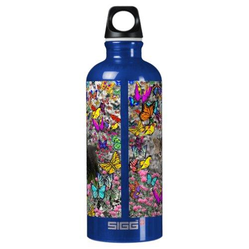 Emma in Butterflies I - Gray Tabby Kitten Water Bottle