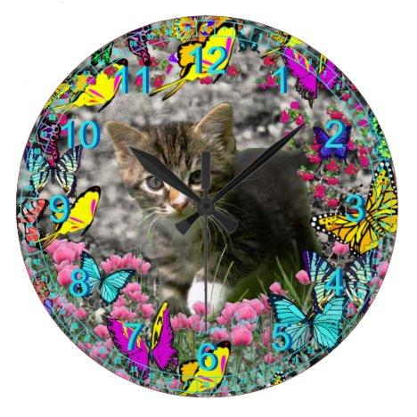 Emma in Butterflies I - Gray Tabby Kitty Large Clock