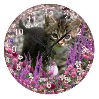 Emma in Flowers I – Gray White Tabby Kitten Large Clock