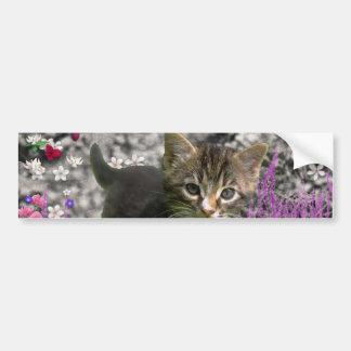 Emma in Flowers I – Little Gray Kitten Bumper Sticker