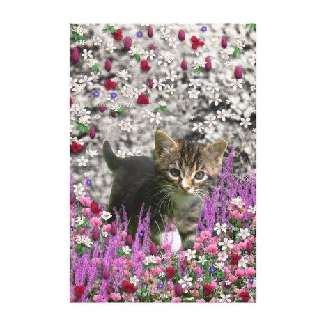 Emma in Flowers I – Little Gray Kitten Canvas Print