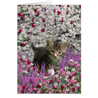 Emma in Flowers I – Little Gray Kitten Card