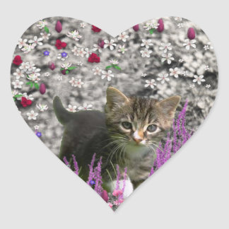 Emma in Flowers I – Little Gray Kitten Heart Sticker