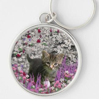 Emma in Flowers I – Little Gray Kitten Keychain