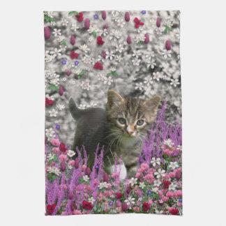Emma in Flowers I – Little Gray Kitten Hand Towels