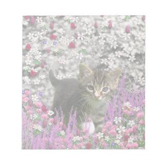 Emma in Flowers I – Little Gray Kitten Notepad