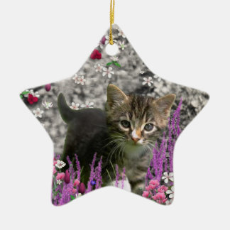 Emma in Flowers I – Little Gray Kitten Christmas Ornaments