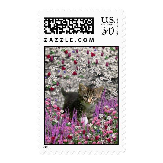Emma in Flowers I – Little Gray Kitten Postage
