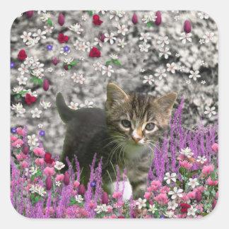 Emma in Flowers I – Little Gray Kitten Square Sticker