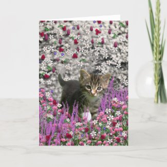 Emma in Flowers I – Little Gray Kitty Greeting Card