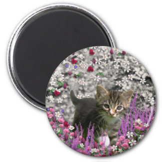 Emma in Flowers I – Little Gray Kitty Cat 2 Inch Round Magnet