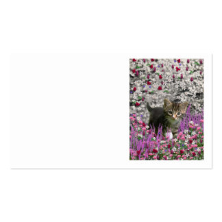 Emma in Flowers I – Little Gray Kitty Cat Business Card