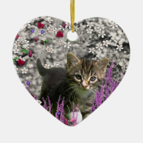 Emma in Flowers I – Little Gray Kitty Cat Ceramic Ornament