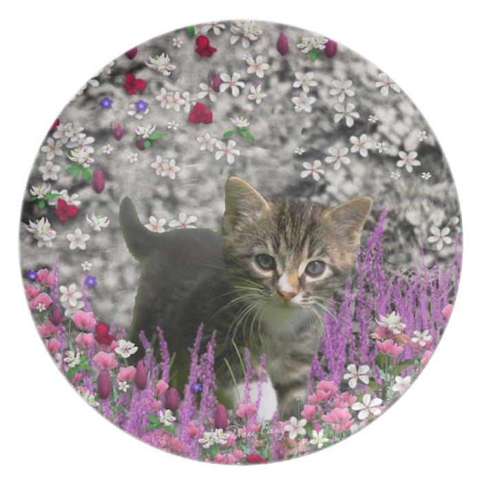 Emma in Flowers I – Little Gray Kitty Cat Dinner Plate
