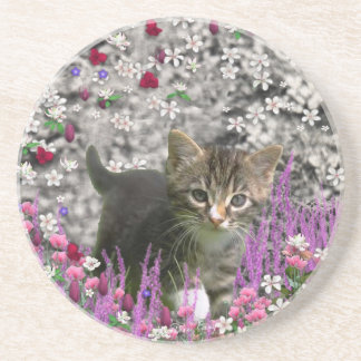 Emma in Flowers I – Little Gray Kitty Cat Drink Coaster
