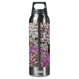Emma in Flowers I – Little Gray Kitty Cat Insulated Water Bottle