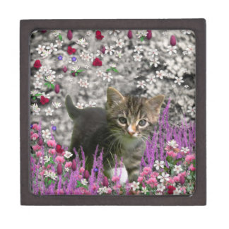 Emma in Flowers I – Little Gray Kitty Cat Jewelry Box