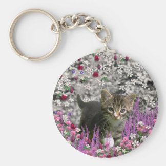 Emma in Flowers I – Little Gray Kitty Cat Keychains