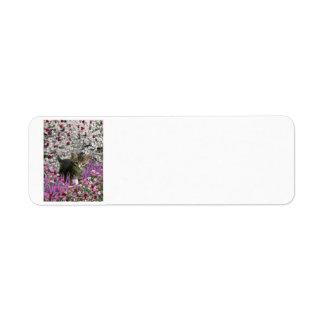 Emma in Flowers I – Little Gray Kitty Cat Label
