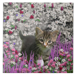 Emma in Flowers I – Little Gray Kitty Cat Large Square Tile