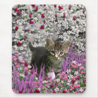 Emma in Flowers I – Little Gray Kitty Cat Mouse Pad