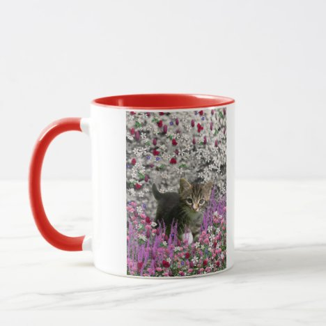 Emma in Flowers I – Little Gray Kitty Cat Mug