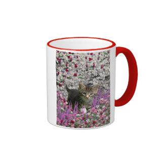 Emma in Flowers I – Little Gray Kitty Cat Ringer Coffee Mug