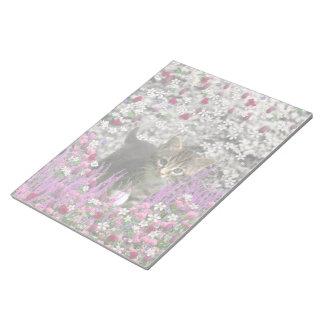 Emma in Flowers I – Little Gray Kitty Cat Notepad