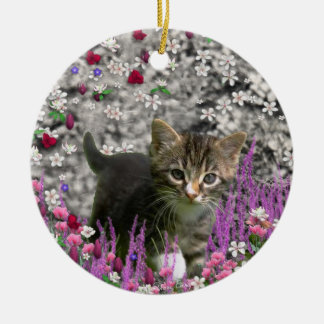Emma in Flowers I – Little Gray Kitty Cat Christmas Ornaments