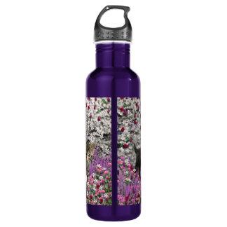 Emma in Flowers I – Little Gray Kitty Cat 24oz Water Bottle