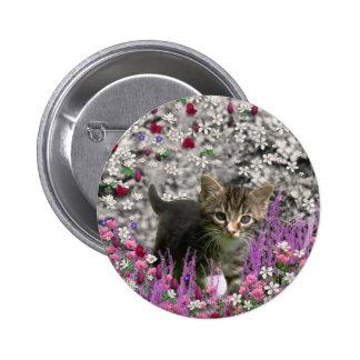 Emma in Flowers I – Little Gray Kitty Cat Pinback Button